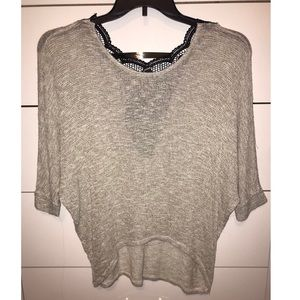 Light weight sweater with LACE DESIGN ON BACK